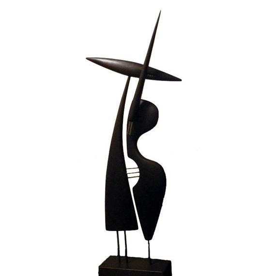 Abstract statue bois joueur de contrebasse cadeau