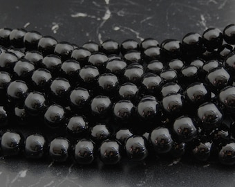 10 10 mm black Agate beads