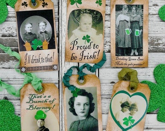 St. Patricks Day Tags PDF - lucky irish vintage altered scrapbooking digital uprint primitive paper old