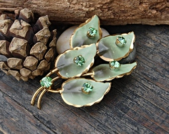 Vintage Leaf Brooch, Green Rhinestone Leaf Pin,  Leaf Lapel Pin, Nature Inspired Jewelry, Green and Gold Leaf Brooch, Enamel Pin