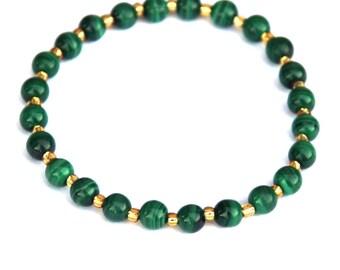 Malachite bracelet, Malachite jewelry, Stretch bracelet, gemstone bracelet, elastic bracelet, green and gold, Australian colours