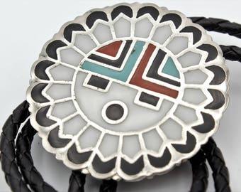 Enamel Zuni Style Sunface Bolo Tie