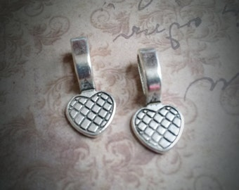 Bails Glue On Bails Antiqued Silver Jewelry Bails Heart Bails 22mm Bails For Glass Tiles 25pcs