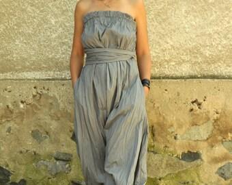 Grey cotton jumpsuit/Loose summer jumpsuit/Cotton Drop Crotch Jumpsuit/Romper/Cotton Overall/Bohemian jumpsuit/Wide legs/Oversized/G1487