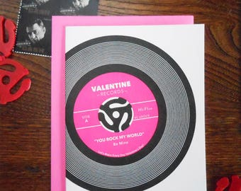 you rock my world vinyl neon pink love valentine sweetest day music record vintage letterpress greeting card