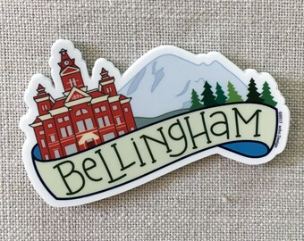 Bellingham Washington Vinyl Sticker, Mt Baker, Water Bottle Sticker, Laptop Sticker, Cool Illustrated Sticker, Washington Sticker, PNW