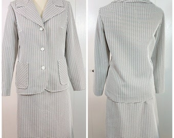 Plus Size RetroSkirt Suit / Vintage Brown and White Jacket and Skirt / Vintage Weathervane Clothing