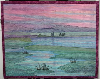 Thread Landscape, featured in ART QUILTING STUDIO Magazine, Winter 2017 issue, pp. 108-110. Art quilt. Magazine included with order!