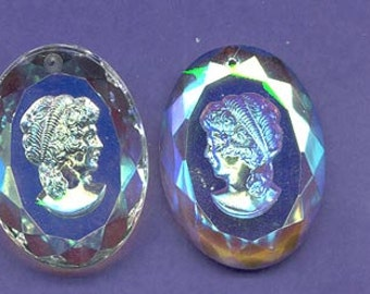 Awesome vintage glacier blue glass intaglio cameo pendant - 40 x 30 mm