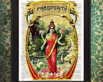 Lakshmi Hindu Goddess of Prosperity with Elephants Indian Ephemera home wall decor gift for bride Upcycled Vintage Dictionary Page Wall Art