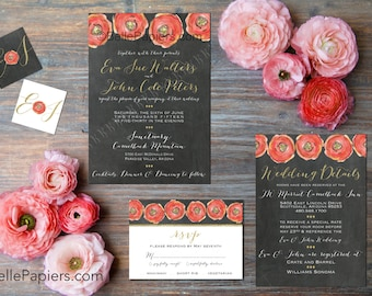 Printable Wedding Invitation Instant Download Customizable Printable DIY Wedding Invitation Suite Coral Gold White Ranunculus Flowers Handpa