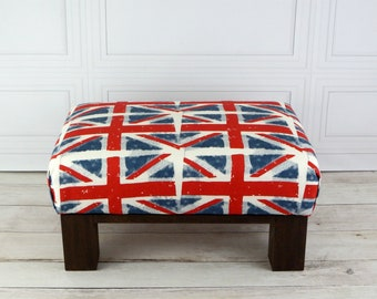 Union jack ottoman - british furniture - union jack foot stool - bristish decor - union jack furniture - bristish flag - union jack decor