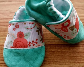Floral baby shoes ,Peach roses baby booties,Teal Floral baby shoes