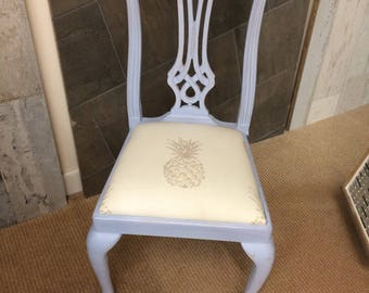 Hand painted blue occasional chair with Laura Ashley pineapple fabric seat