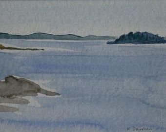 Haddock Island Maine Watercolor Painting Original Plein Air Painting 8 x 10  Muscongus Bay Art Kathleen Daughan artist Maine Coast Artwork