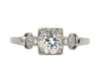 18 Karat White Gold 0.97 Carat Old European Cut Diamond Ring