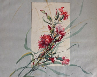 French Antique 1910s water color flowers   painting original