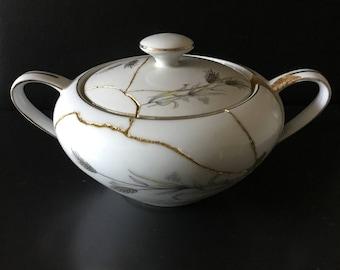 Elegant Ceramic Vase crafted by Kintsugi Artwork