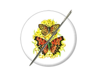 Butterfly 1 needle minder magnet counted cross stitch sewing tool sewing notion wife gift under 10 stocking stuffer needle holder embroidery