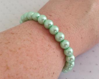 Seafoam Wedding Jewelry, Seafoam Green Pearl Bracelet, Bridesmaid Gift Ideas, Mint Green Pearl Wedding Jewelry, Mint Bridal Jewelry