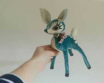 Baby Turquoise Velvet & Cream Felt Hand Stitched Deer - Limited Edition