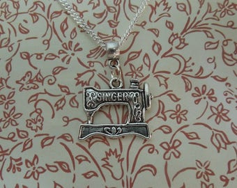 Silver Singer Necklace - Sewing Machine Necklace - Sterling Silver
