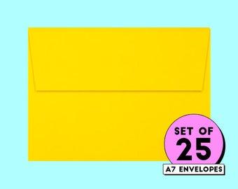 yellow envelopes, envelopes, invitation envelope, card envelope, envelopes, 5x7 envelopes, square flap envelope, bulk envelope || Pack of 25
