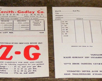 Vintage Zenith Godley Co New York Butter and Eggs Reciept Order Card unused NOS