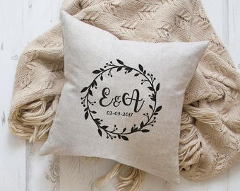 Wedding Gift pillow with embroidered initials, personalised cushions,  pillows, wedding gifts, personalized
