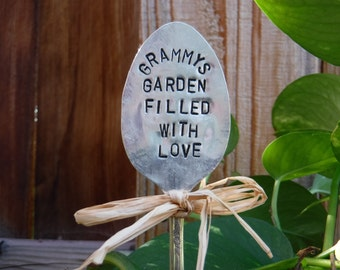 Grammys Garden Filled With Love garden pick - hand stamped spoon plant marker - garden marker for your planter bed - re-purposed spoon art