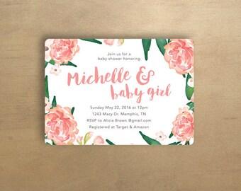 Baby Shower Invitation - Floral - Pink - DIGITAL FILE ONLY