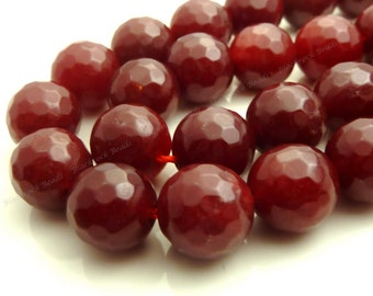 10mm Dark Red Jade Faceted Gemstone Beads - 19pcs - BF20