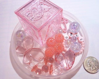80 Floating Pink Baby Shower Pearls and Gems Vase Fillers - Jumbo/Assorted Sizes for Centerpieces