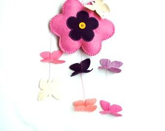 Baby Mobile felt, butterfly, flower, pink, Wall Hanging, Window Hanging, nursery, Hanging Baby Mobile, Baby Girl Mobile, Nursery Crib