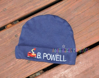Firetruck Baby Boy Beanie Hat Personalized with Any Name