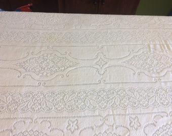 "Vintage Tablecloth, Floral Lace Tablecloth, 99"" X 60"", Vintage Tablecloth, Home and Living, Kitchen and Dining, Home Decor,"