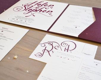 Calligraphy Wedding Invitation, Burgundy and Gold Pocket Fold Invite