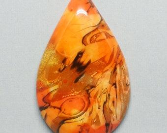 Orange Polymer Clay Teardrop Mokume Gane Designer Cabochon