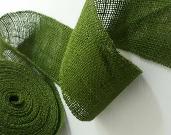 Canvas - 10cm - green burlap Ribbon