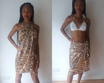 Leopard print Beach Sarong wrap size extra small-small and large16-18