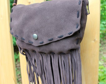 Brown Leather Fringe Purse - Christmas Gift -  Crossbody Bag - Holiday Gift Ideas for Her - Leather Purse - Ladies Purse - Boho Fringe Purse
