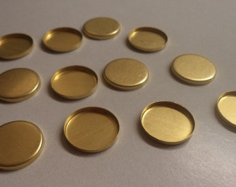 20mm round brass high wall bezel cup settings 12 pc lot l X N
