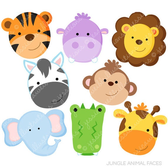 jungle animal faces cute digital clipart commercial use ok rh etsy com jungle animal clipart safari animal clipart free