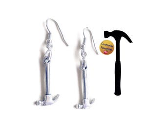 Rosie the Riveter Hammer Earrings, 925 Silver Wires, Tools Handywoman Handyman Construction