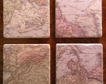 Coasters World Maps Cup Holders Barware Stone Home Decor Drinks Furniture Protect Russia India Persia Arabia Travel Route Direction