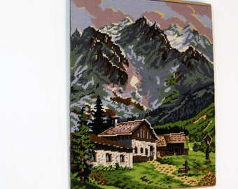 Vintage Needlepoint Canvas Wiener Handarbeit Needlework Embroidery Austrian Spring Scene Landscape Made in Austria