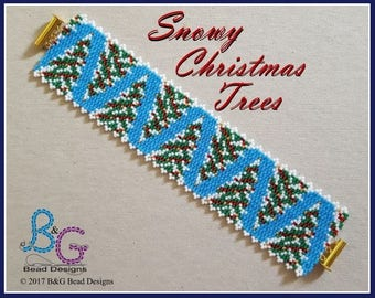 SNOWY CHRISTMAS TREES Peyote Bracelet Cuff Pattern