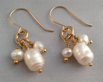 Freshwater Pearl Gold Filled Dangle Earrings