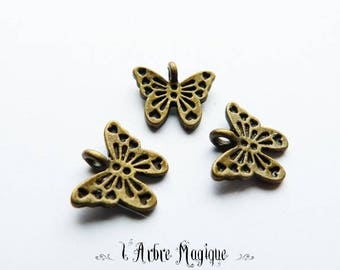 large 10 refPap53 x bronze brass color metal Butterfly pendant