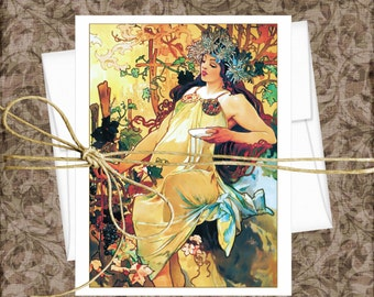 Alphonse Mucha Blank Note Cards,  Set of 10 Cards With Matching Envelopes, Art Nouveau Note Cards